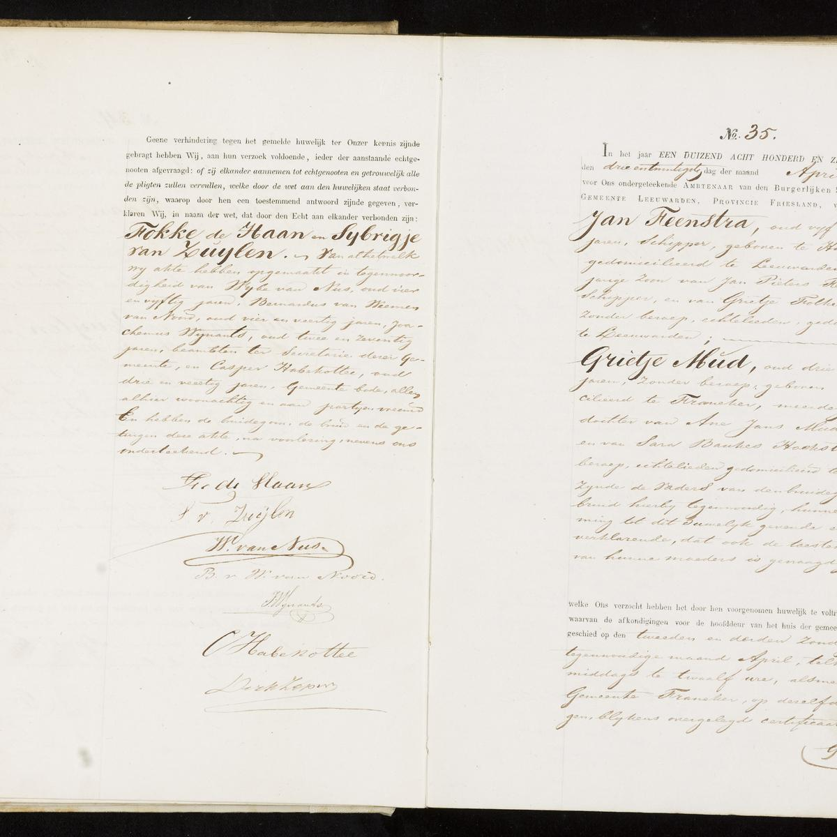 Civil registry of marriages, Leeuwarden, 1870, records 34-35