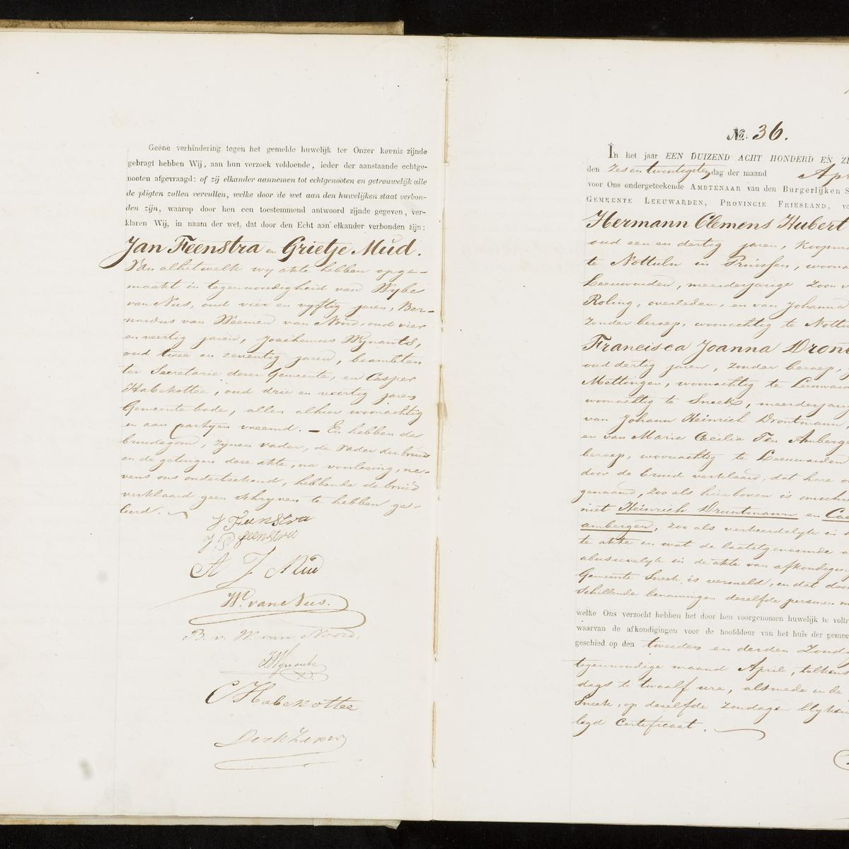 Civil registry of marriages, Leeuwarden, 1870, records 35-36