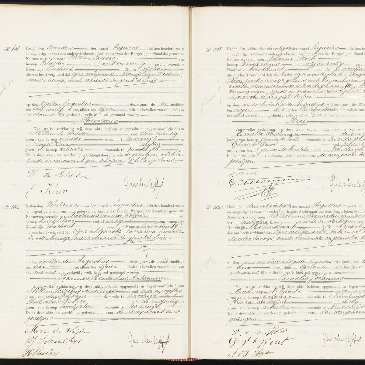 Civil registry of births, Noordwijk, 1897, records 101-104