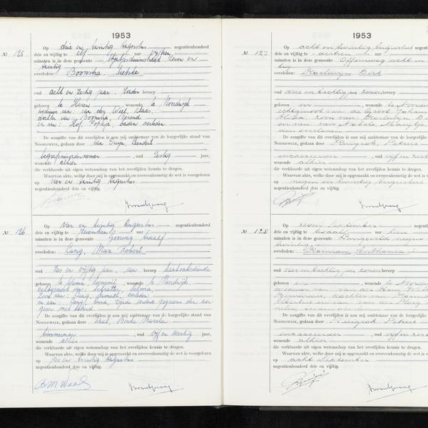 Civil registry of deaths, Noordwijk, 1953, records 125-128