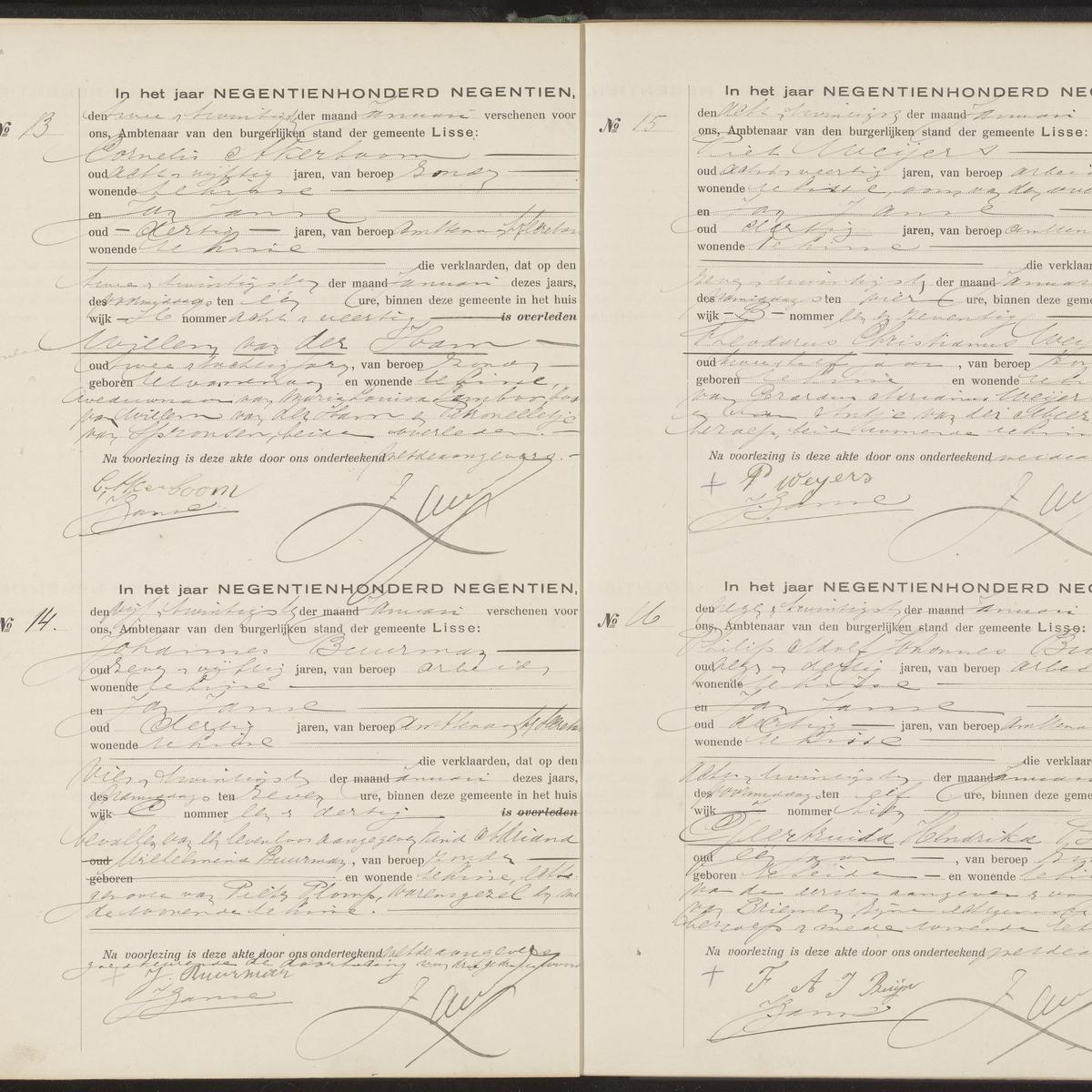Civil registry of deaths, Lisse, 1919, records 13-16