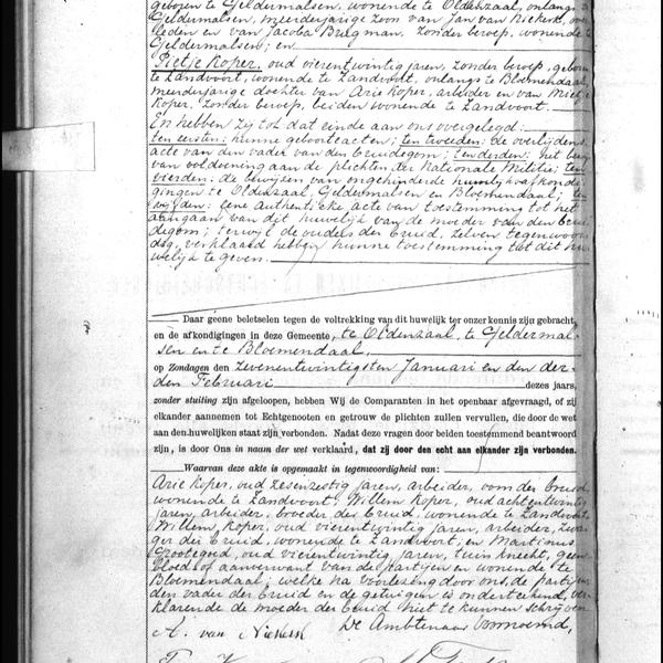 Civil registry of marriages, Zandvoort, 1895, record 1