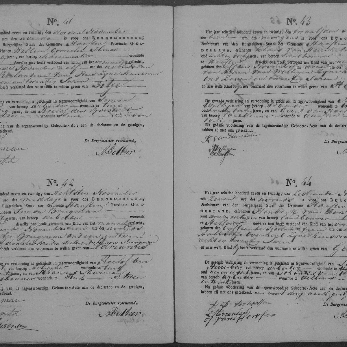 Civil registry of births, Haaften, 1827, records 41-44