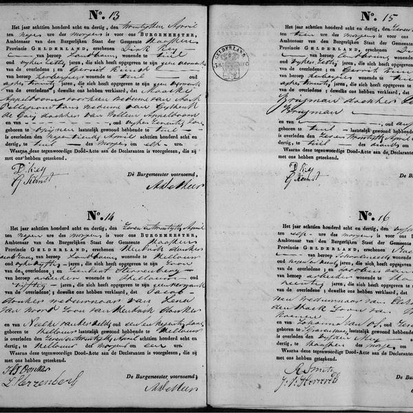 Civil registry of deaths, Haaften, 1838, records 13-16