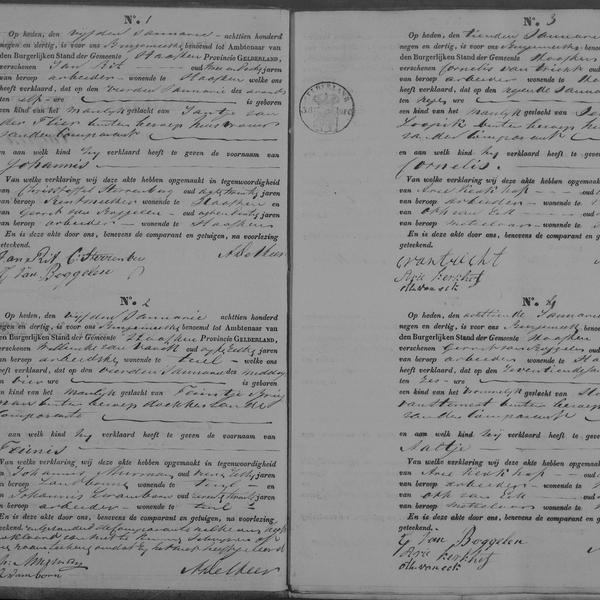 Civil registry of births, Haaften 1839, records 1-4