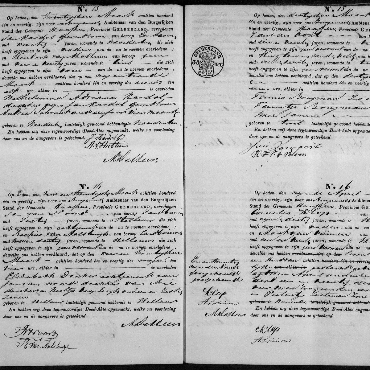Civil registry of deaths, Haaften, 1841, records 13-16