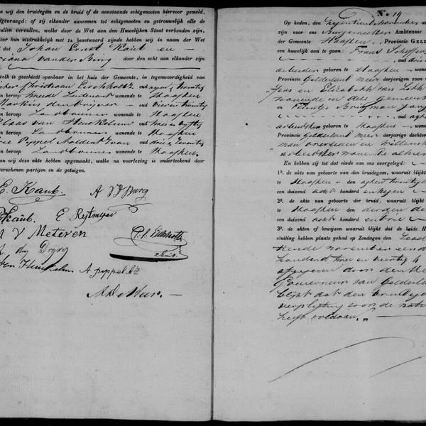 Civil registry of marriages, Haaften, 1842, records 18-19