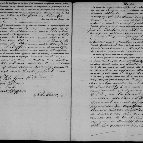 Civil registry of marriages, Haaften, 1842, records 19-20