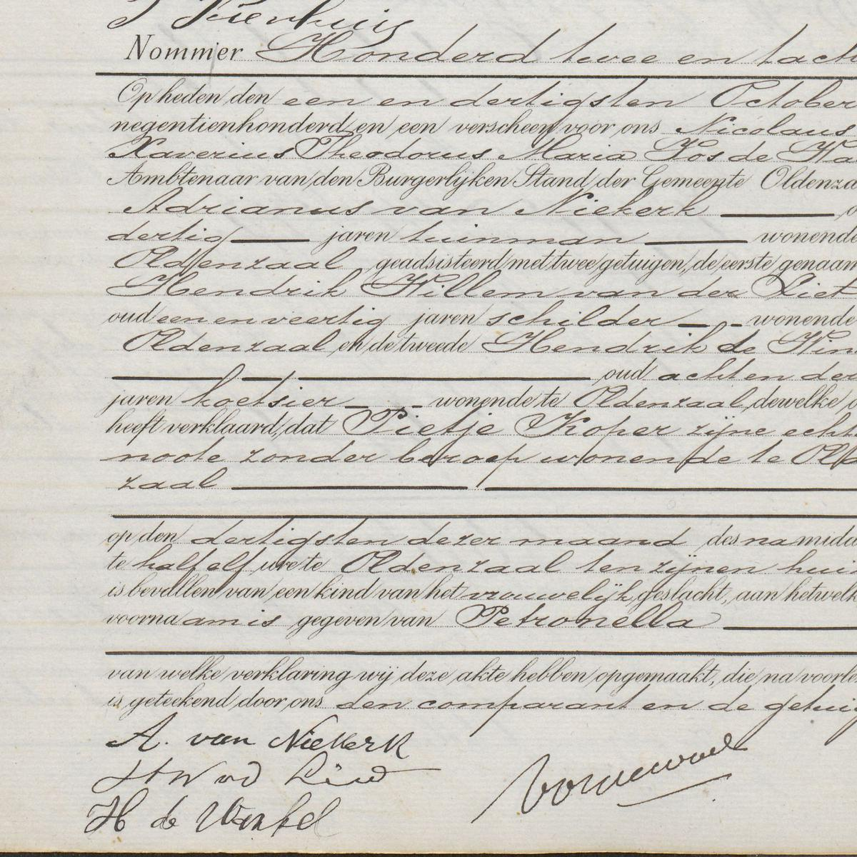 Civil registry of births, Oldenzaal, 1901, record 182