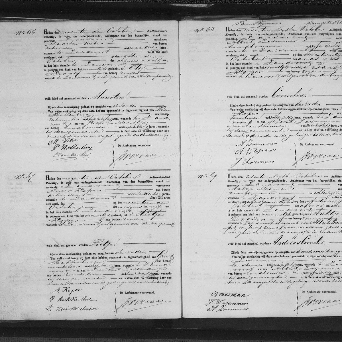 Civil registry of births, Zandvoort, 1870, records 66-69