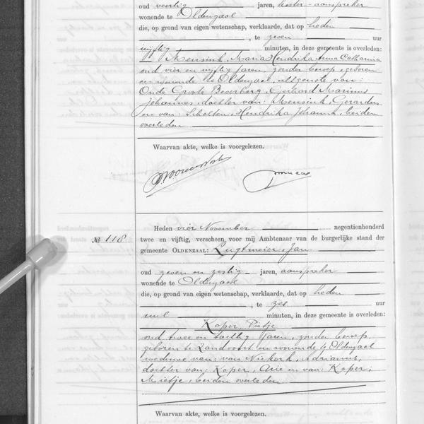 Civil registry of deaths, Oldenzaal, 1952, records 117-118