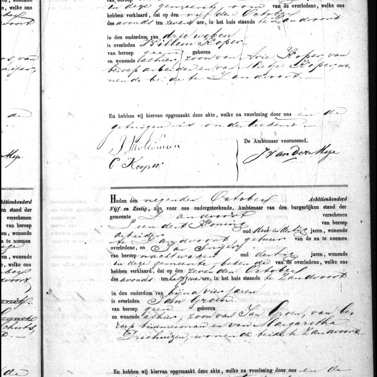 Civil registry of deaths, Zandvoort, 1865, records 9-10