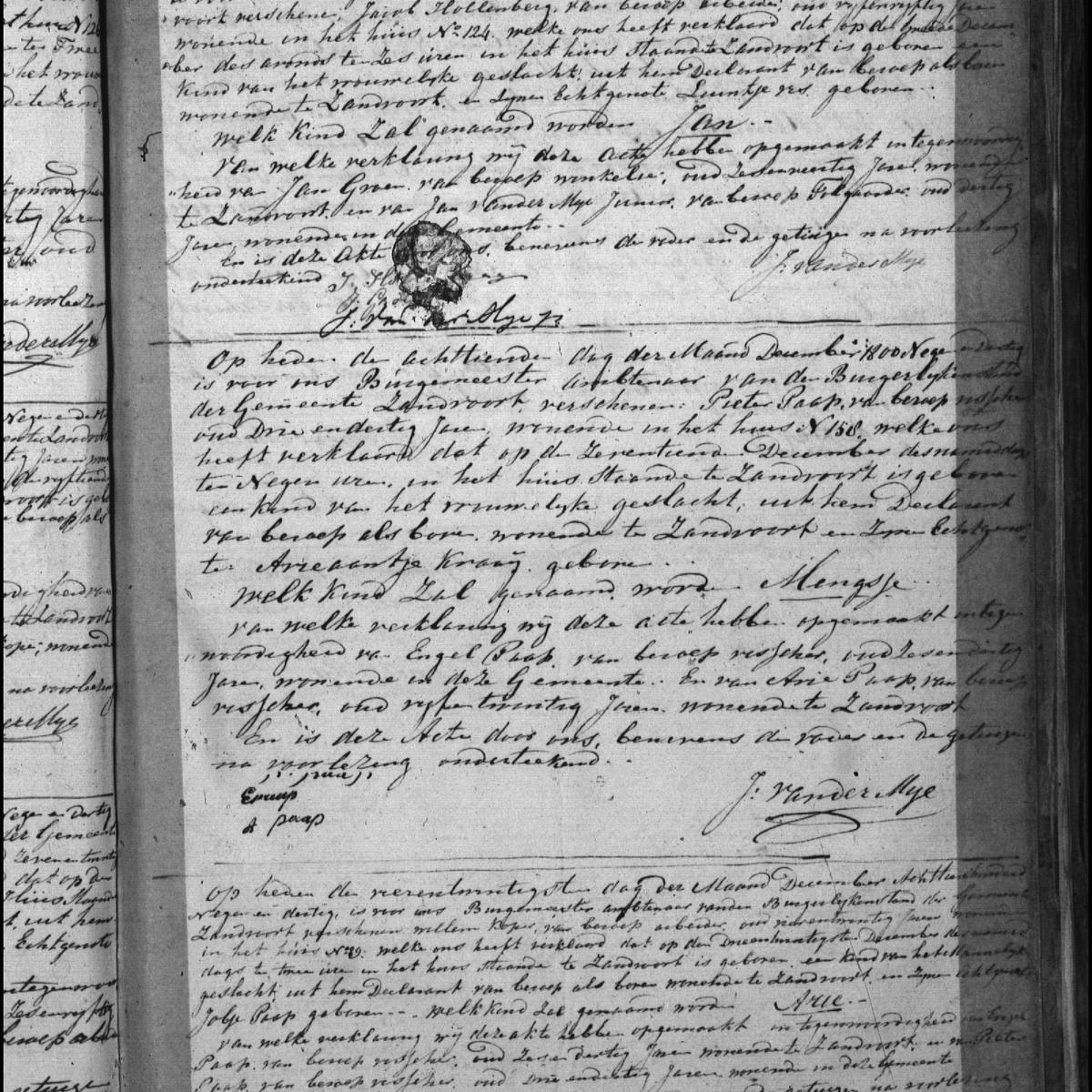 Civil registry of births, Zandvoort, 1839, records 48-50