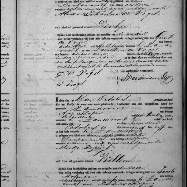 Civil registry of births, Zandvoort, 1866, records 48-49