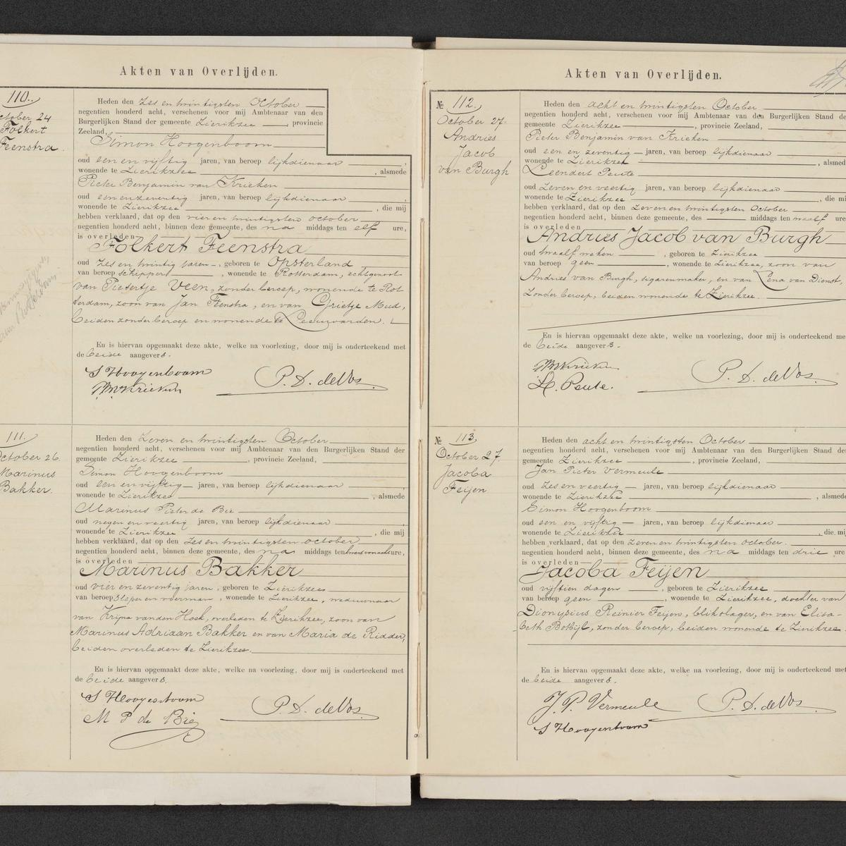 Civil registry of deaths, Zierikzee, 1908, records 110-113