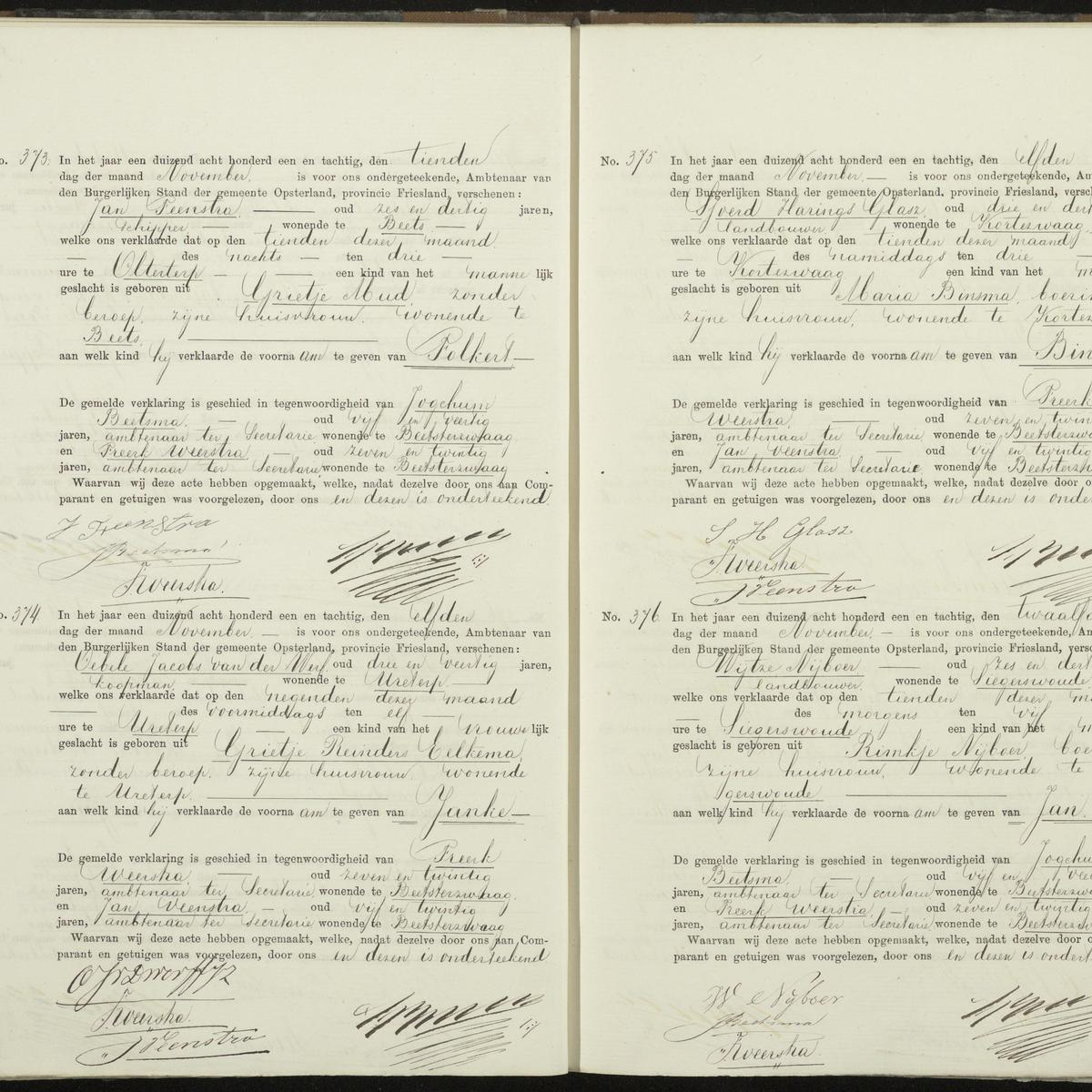 Civil registry of births, Opsterland, 1881, records 373-376