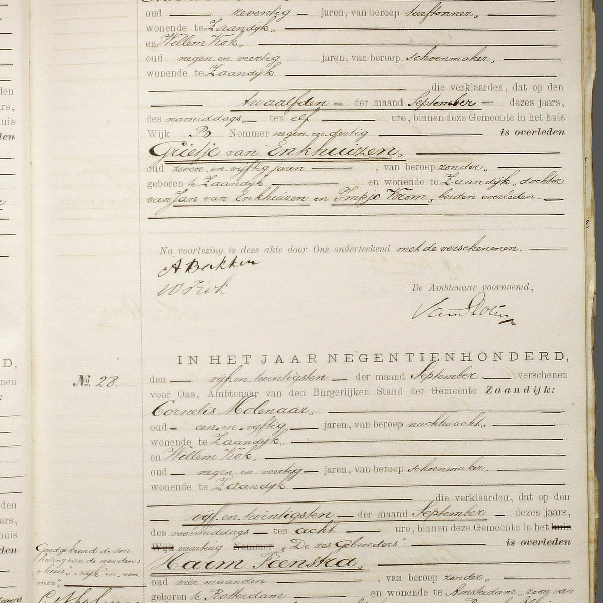 Civil registry of deaths, Zaandijk, 1900, records 27-28