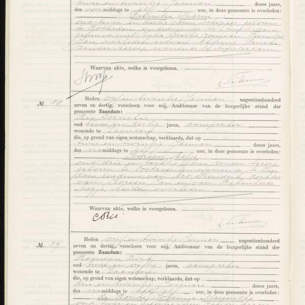 Civil registry of deaths, Zaandam, 1937, records 37-39