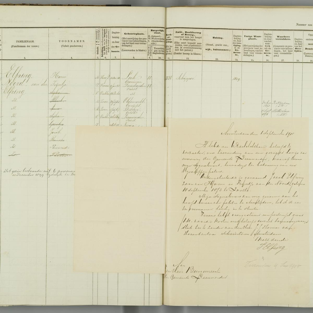 Civil registry, Leeuwarden, 1876-1904, sheet 180 (left, with note about Jacob Elfring)