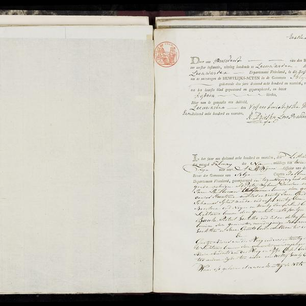 Civil registry of marriages, Blija, 1814, record 1