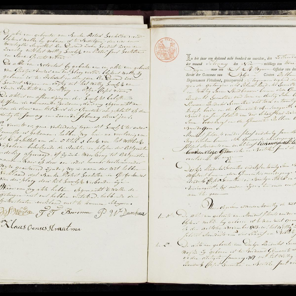 Civil registry of marriages, Blija, 1814, records 1-2
