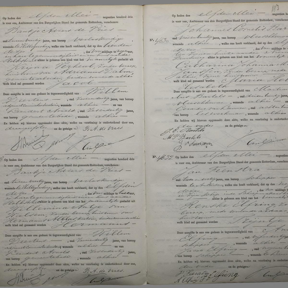 Civil registry of births, Rechtbank Rotterdam, 1903, records 4626-4632 (even)
