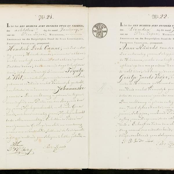 Civil registry of births, Leeuwarden, 1842, records 21-22