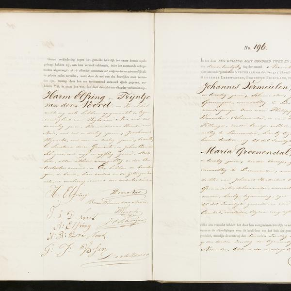 Civil registry of marriages, Leeuwarden, 1862, records 195-196