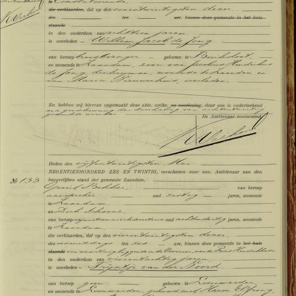 Civil registry of deaths, Zaandam, 1926, records 123-133