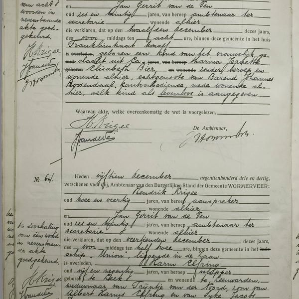Civil registry of deaths, Wormerveer, 1933, records 63-64