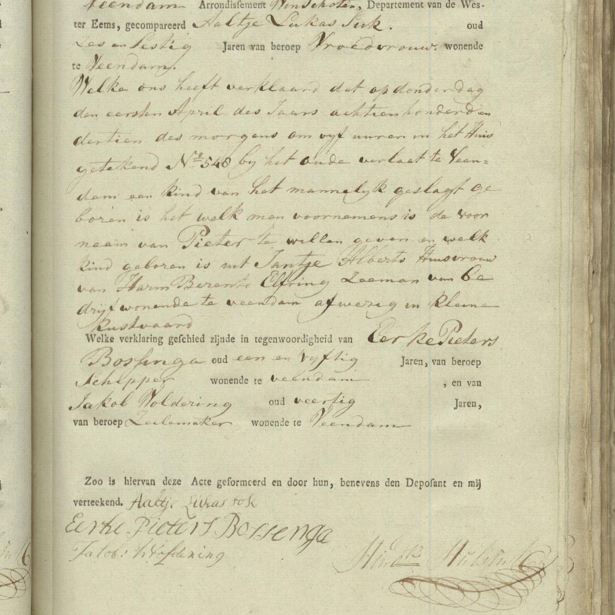 Civil registry of births, Veendam, 1813, record 36