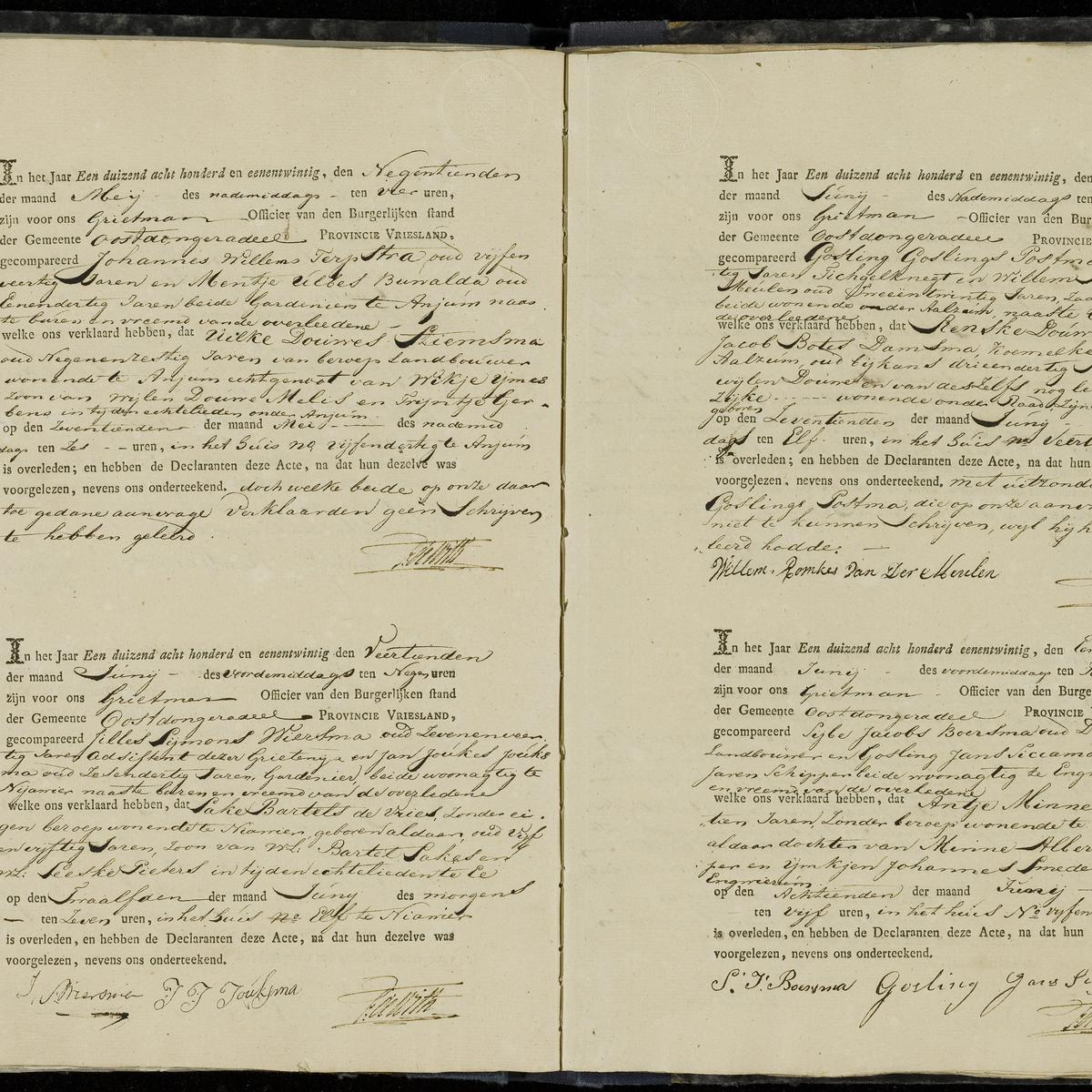 Civil registry of deaths, Oostdongeradeel, 1821, sheet 9