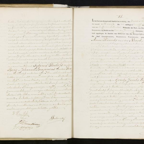 Civil registry of marriages, Leeuwarden, 1836, records 26-27