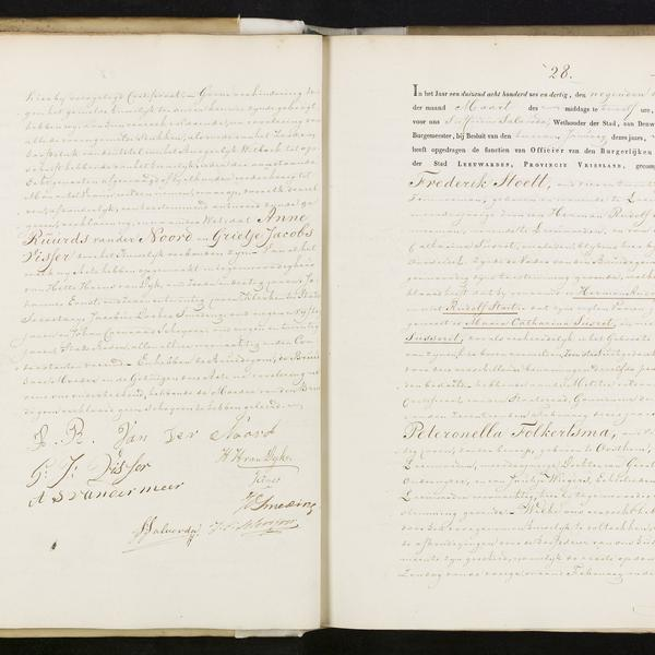 Civil registry of marriages, Leeuwarden, 1836, records 27-28
