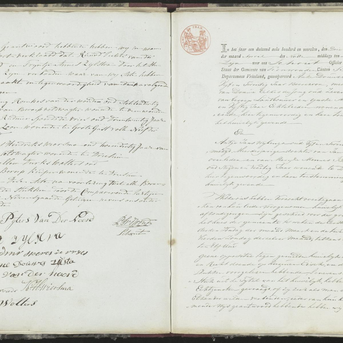 Civil registry of marriages, Veenwouden, 1814, records 2-3