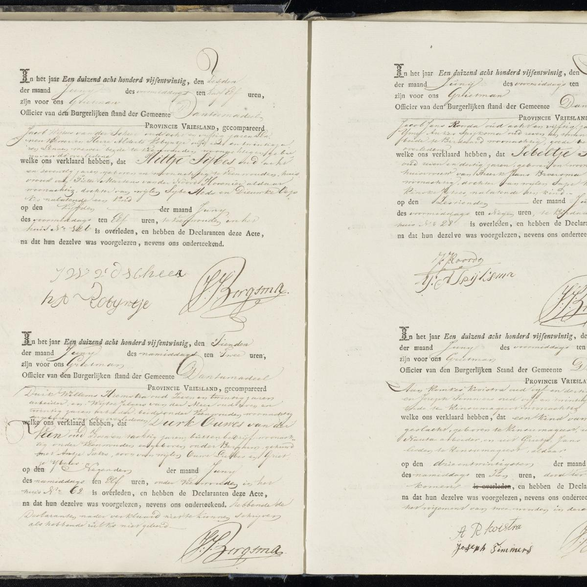Civil registry of deaths, Dantumadeel, 1825, sheet 17