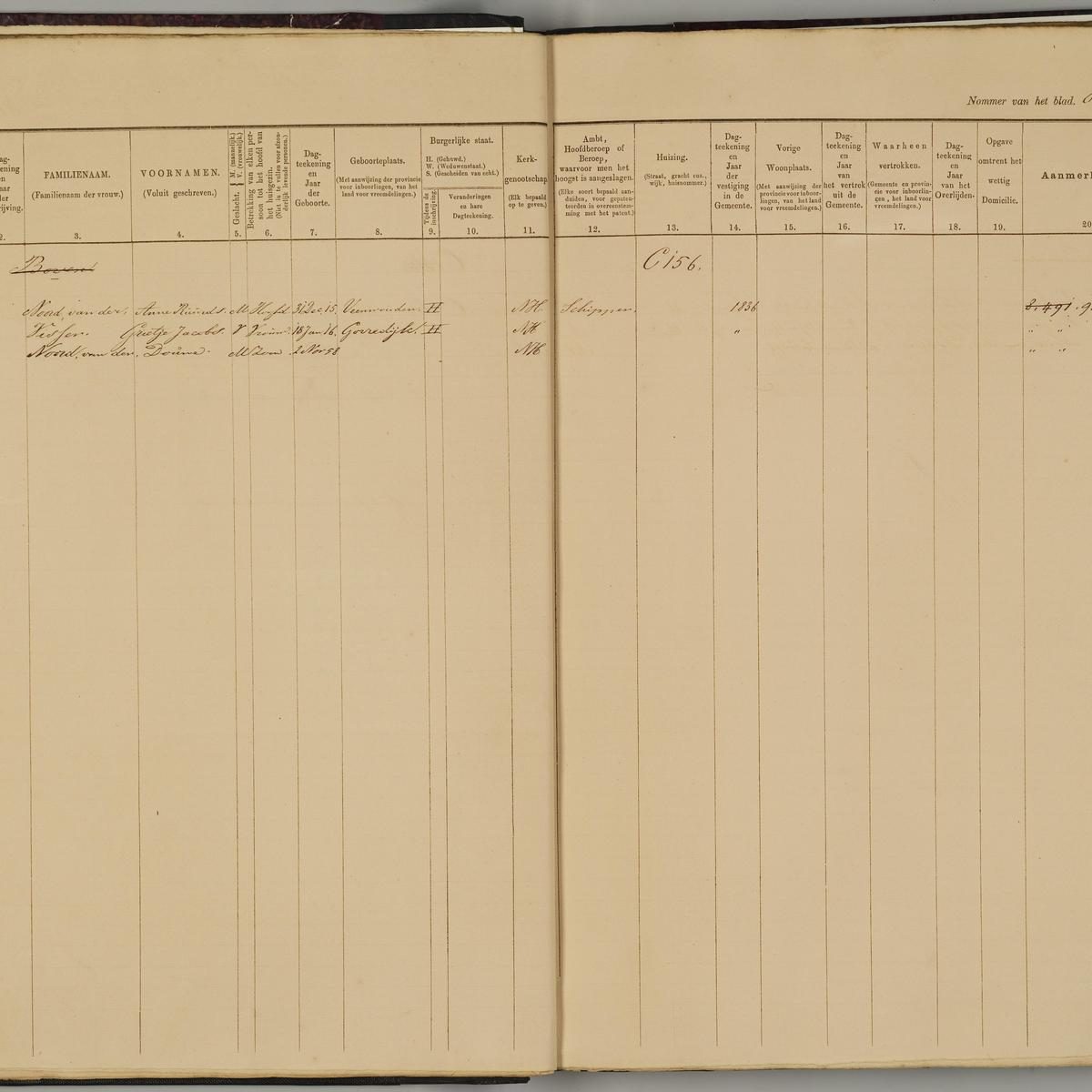 Population registry, Leeuwarden, 1859-1876, sheet 816