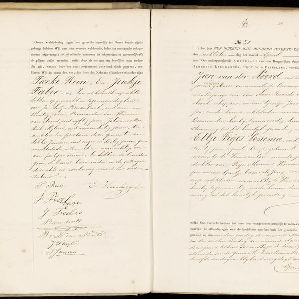 Civil registry of marriages, Leeuwarden, 1876, records 29-30