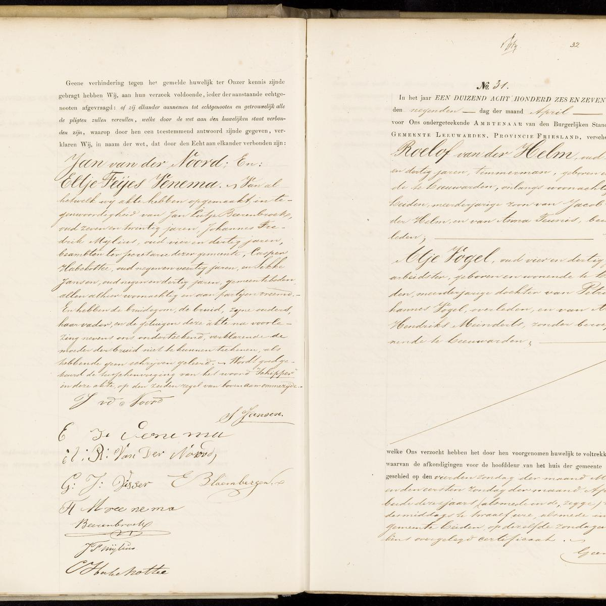 Civil registry of marriages, Leeuwarden, 1876, records 30-31