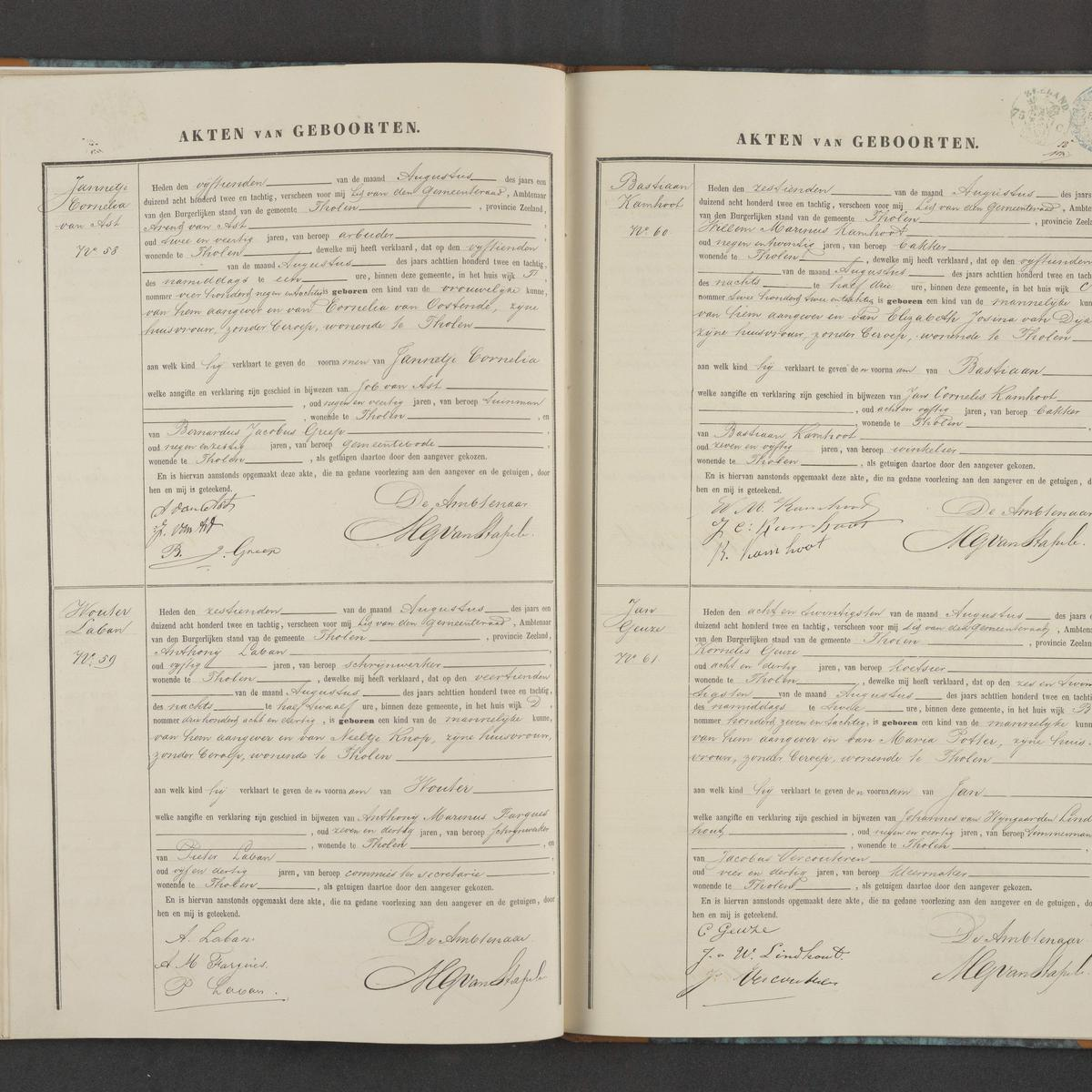 Civil registry of births, Tholen, 1882, records 58-61