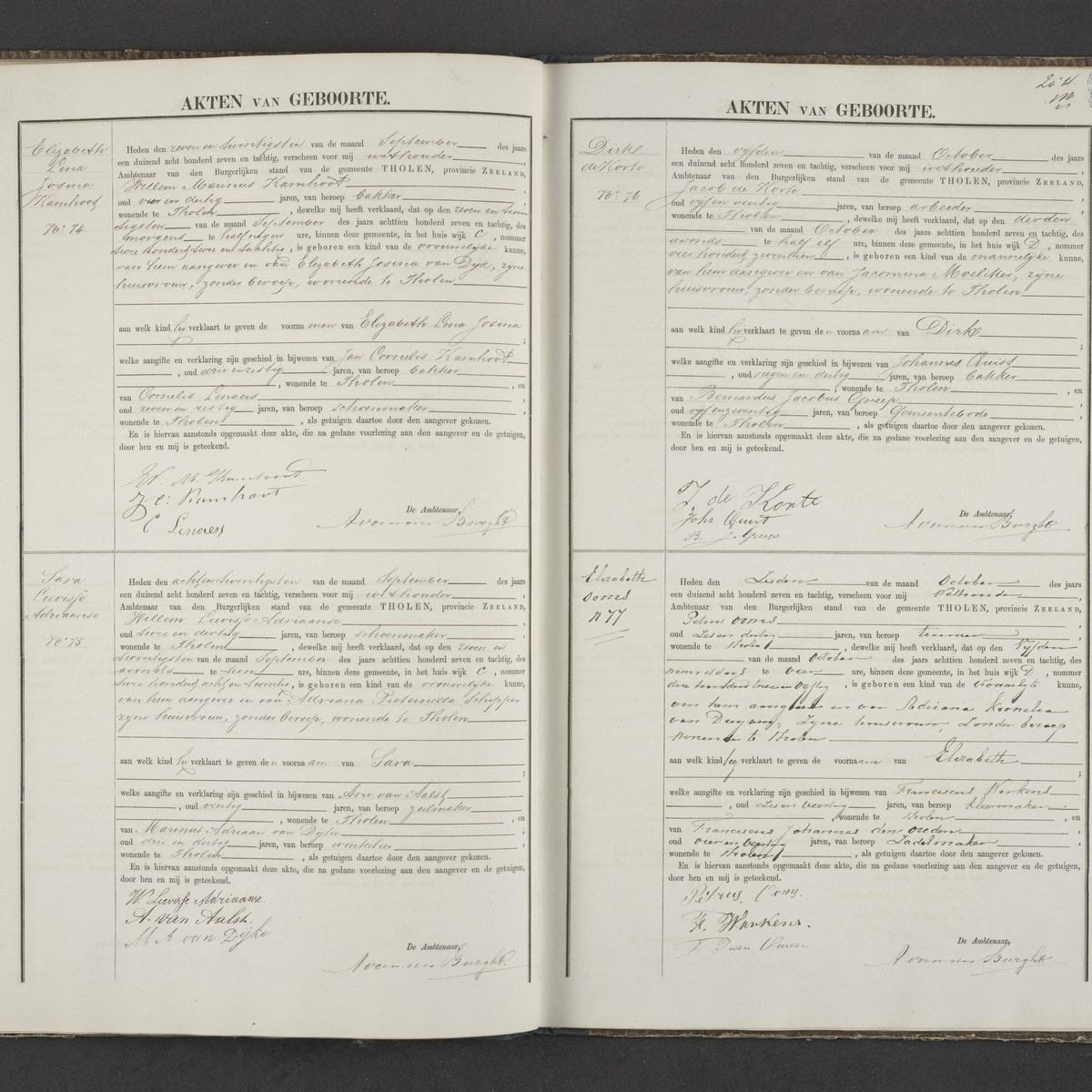 Civil registry of births, Tholen, 1887, records 74-77
