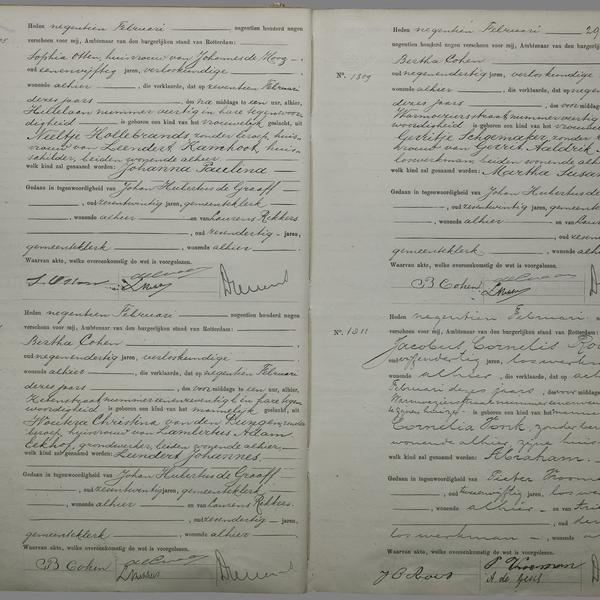 Civil registry of births, Rotterdam, 1909, records 1805-1811 (odd)