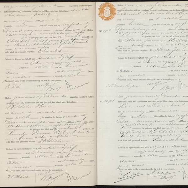 Civil registry of births, Rotterdam, 1915, records 12902-12908 (even)