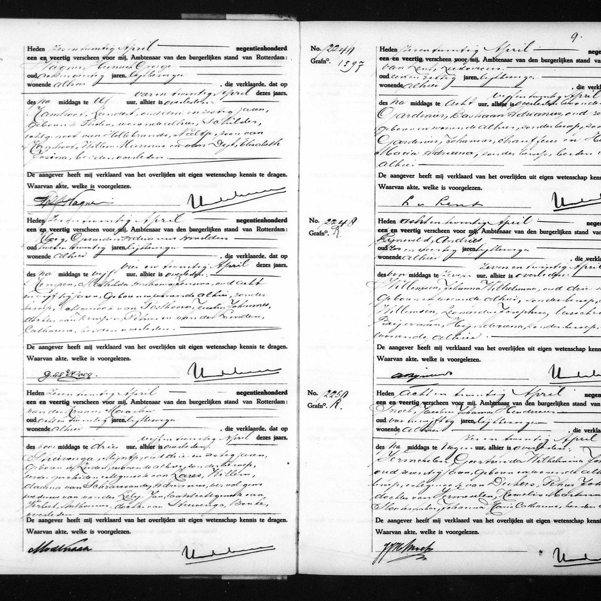 Civil registry of deaths, Rotterdam, 1941, records 2240-2250 (even)