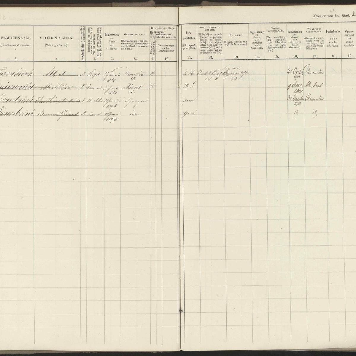 Population registry, Nijmegen, 1900-1910, wijk C, part 10, sheet 148