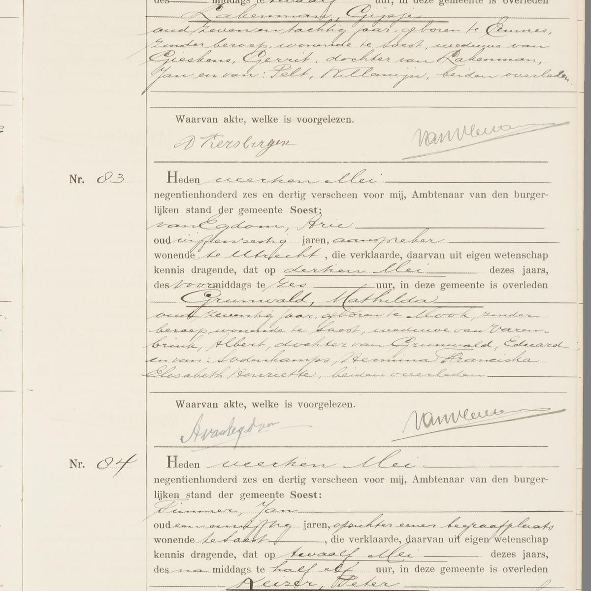 Civil registry of deaths, Soest, 1936, records 82-84
