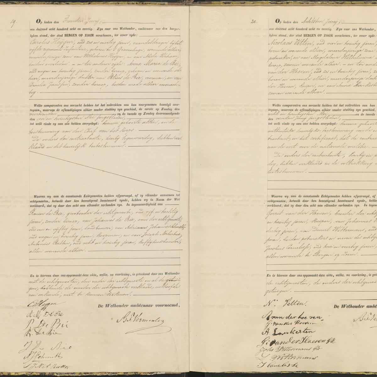 Civil registry of marriages, Bergen op Zoom, 1848, records 19-20