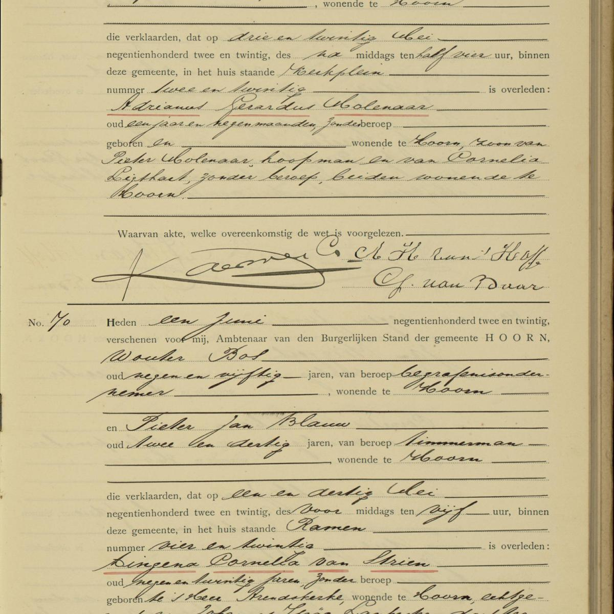 Civil registry of deaths, Hoorn, 1922, records 69-70