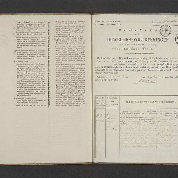 Civil registry of marriages, Veere, 1826, record 1