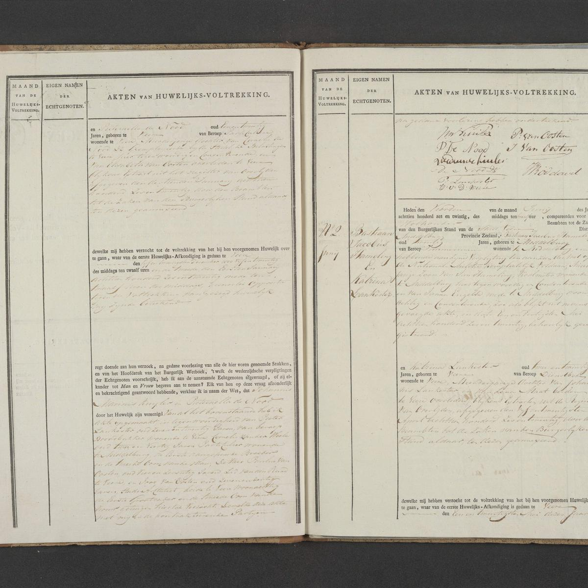 Civil registry of marriages, Veere, 1826, records 1-2